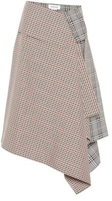 Monse Plaid wool-blend asymmetric skirt