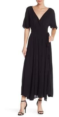 Elan International Solid Short Sleeve Wrap Midi Dress
