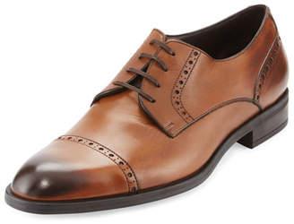 Ermenegildo Zegna Leather Cap-Toe Derby Shoe, Brown