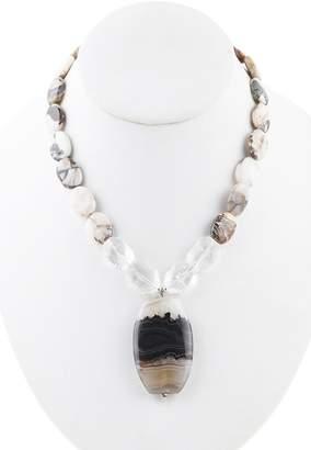 Barse Sterling Silver Beaded Jasper, Clear Quartz & Agate Pendant Necklace