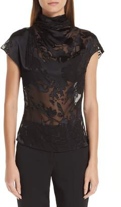 Cushnie et Ochs Burnout High Neck Blouse