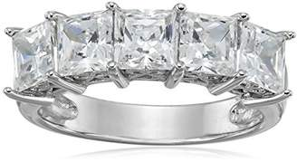 Swarovski La Lumiere Platinum-Plated Sterling Silver Zirconia Princess-Cut 5 Stone Ring (3 cttw), Size N1/2