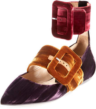 ATTICO Manu Colorblock Velvet Two-Strap Flat