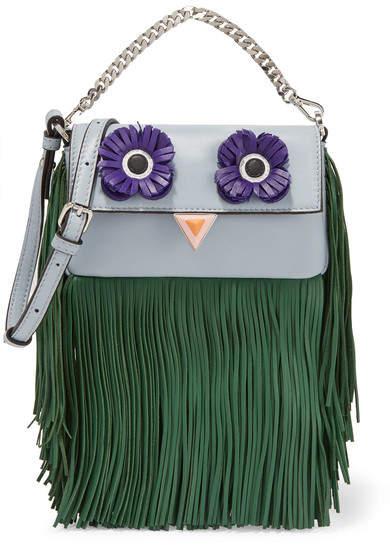 Fendi - Baguette Micro Fringed Leather Shoulder Bag - Sky blue