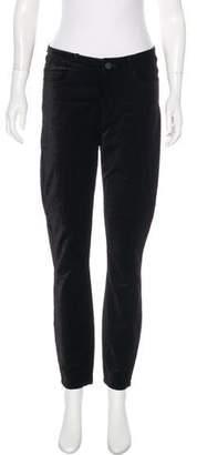 Paige Velvet Mid-Rise Skinny Pants