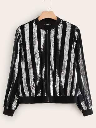 Shein Plus Zip Up Sequin Bomber Jacket