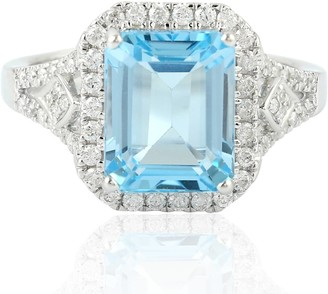 Artisan 18Kt Solid White Gold Topaz Indian Diamond Ring