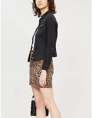 a871060727 Good American The Mini high-waist leopard-print denim skirt
