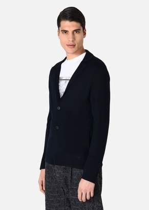 Emporio Armani Cardigan In Plain Knit Virgin Wool