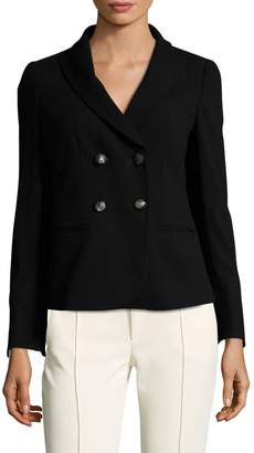 Armani Collezioni Women's Wool Micro Check Double Breasted Blazer