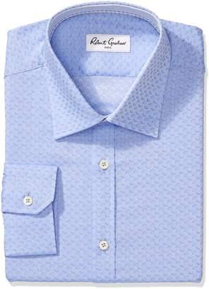 Robert Graham Men's Regular Fit Geometric Jacquard Point Collar Dress Shirt