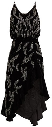 Dodo Bar Or Agnes Bead Embellished Velvet Dress - Womens - Black