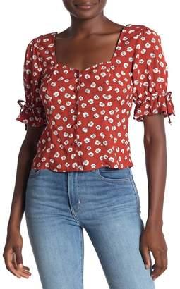 Trixxi Floral Button Front Top