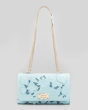 Valentino Girello Medium Leather-Lace Shoulder Bag, Turquoise