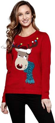Yumi Reindeer Christmas Fine Knit Jumper