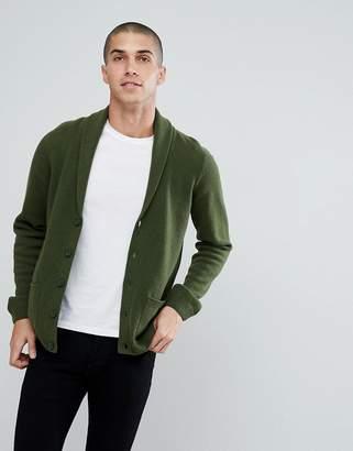 Asos Lambswool Shawl Cardigan In Lime Green