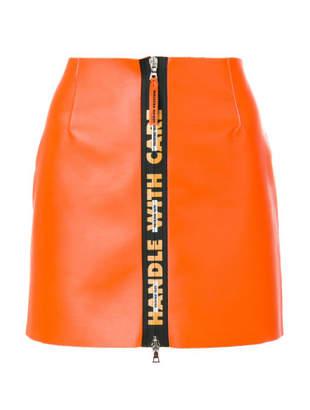 Heron Preston handle leather mini skirt