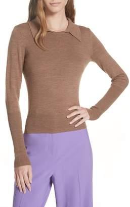 Diane von Furstenberg Merino Wool Blend Polo Sweater