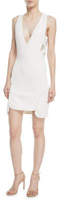 Elie Saab Sleeveless Deep-V Crepe Sheath Dress w/ Lace Sides