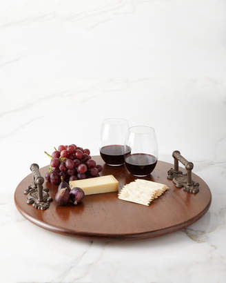 GG Collection G G Collection Wood Lazy Susan with Metal Acanthus Leaf Handles