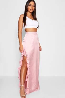 boohoo Satin Ruffle Split Maxi Skirt