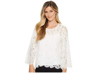 Karen Kane Flare Sleeve Scallop Lace Top Women's Clothing