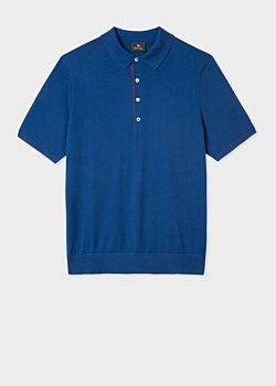 Paul Smith Men's Blue Knitted Cotton Polo Shirt With Contrasting Placket Detail