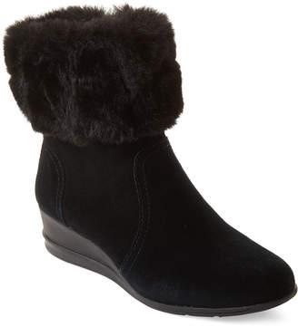 AK Anne Klein Sport Black Conscious Water Resistant Wedge Boots