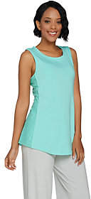 Halston H by Sleeveless Knit Tank withLace Inset