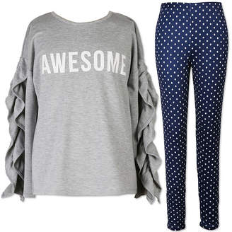 Speechless Long Sleeve Ruffle Sweatshirt Legging Set- Girls' 7-16 & Plus
