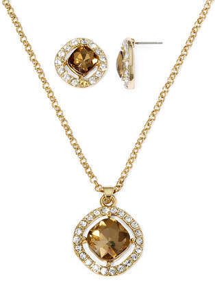 MONET JEWELRY Monet Champagne Crystal Earring and Necklace Set
