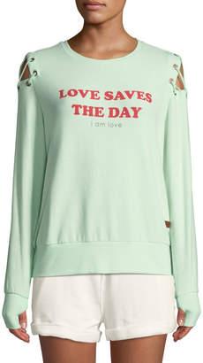 Peace Love World Cinthia Love Slogan Tie-Shoulder Sweatshirt
