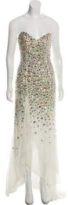 Terani Couture Embellished Silk Dress w/ Tags