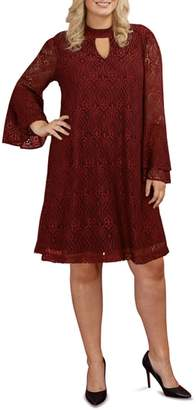 ECI Lace Bell Sleeve A-Line Dress
