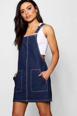 boohoo Contrast Stitch Denim Pinafore Dress