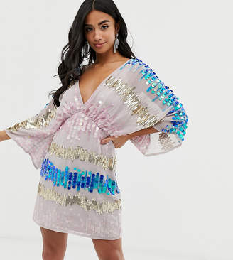 Asos DESIGN Petite kimono mini dress in the scattered coloured sequins