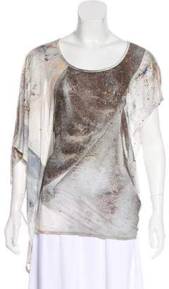 Helmut Lang Abstract Print Asymmetrical Top
