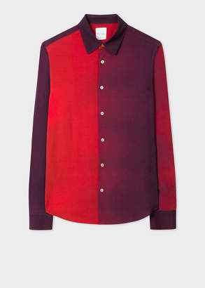 Paul Smith Men's Slim-Fit Red Gradient Colour-Block Wool-Blend Shirt