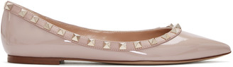 Valentino Pink Patent Leather Rockstud Flats $745 thestylecure.com