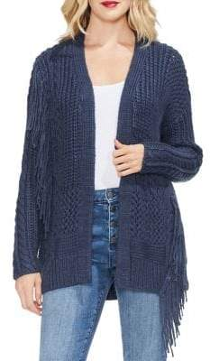Vince Camuto Sapphire Sheen Fringed Cardigan