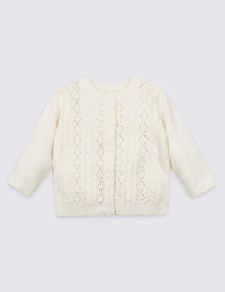 Marks and Spencer Cotton Rich Pointelle Cardigan