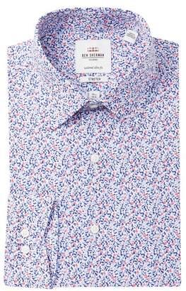 Ben Sherman Abstract Print Stretch Slim Fit Dress Shirt