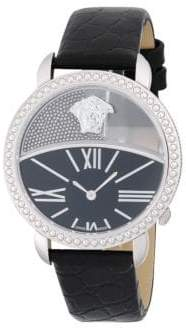 Versace Stainless Steel and Leather-Strap Watch