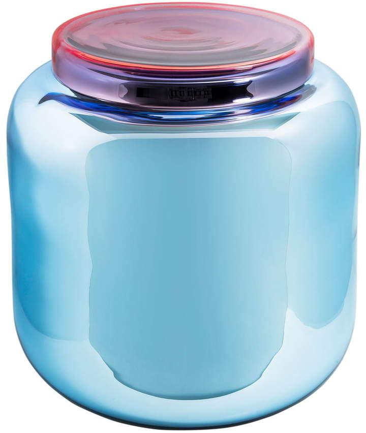 Pulpo - Container Table, Blau versilbert / Deckel rot