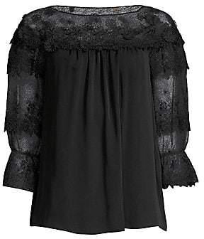 Elie Tahari Women's Neila Lace-Sleeve Silk Blouse