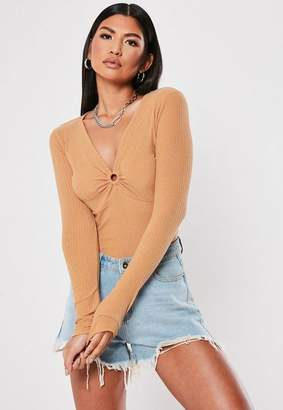 Missguided Camel Ring Detail Rib Long Sleeve Top