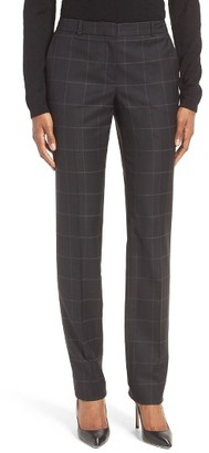 Women's Boss Titana Check Stretch Wool Blend Trousers $285 thestylecure.com