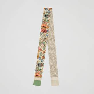 Burberry Floral and Monogram Print Silk Skinny Scarf