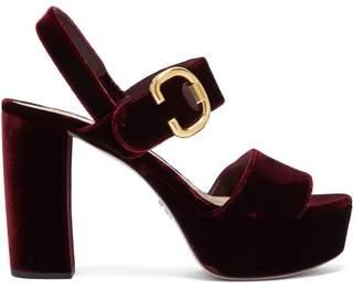 Prada Velvet Platform Sandals - Womens - Burgundy