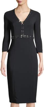 Michael Kors Grommet-Trimmed Long-Sleeve Dress
